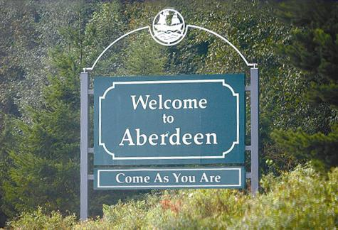 Welcome sign aberdeen washington usa Nirvana Kurt Cobain