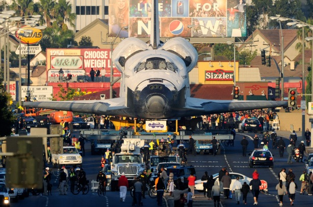 Space Shuttle Endeavour transported through the streets of LA in 2012 (Photo: Kevork Djansezian/Getty Images)