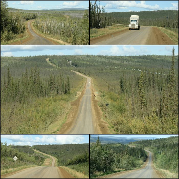 The unpaved Dalton Highway winds its way through the Alaskan interior